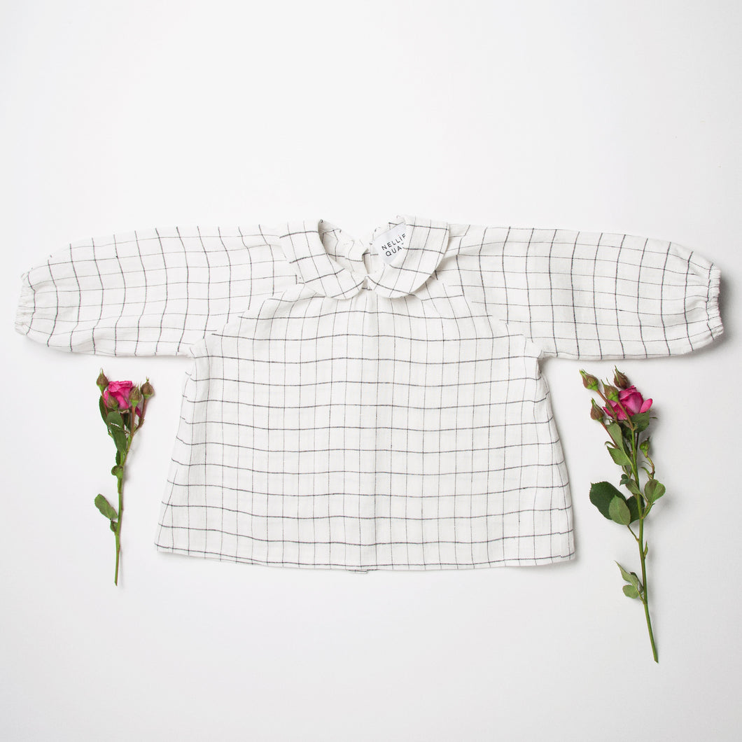 Nellie Quats Duck, Duck, Goose Blouse - Linen White Check