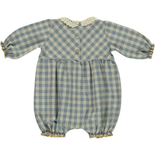 Load image into Gallery viewer, Bebe Organic Eleanor Romper - Honey/Blue Check - 12M Last One