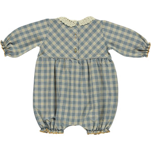 Bebe Organic Eleanor Romper - Honey/Blue Check - 12M Last One