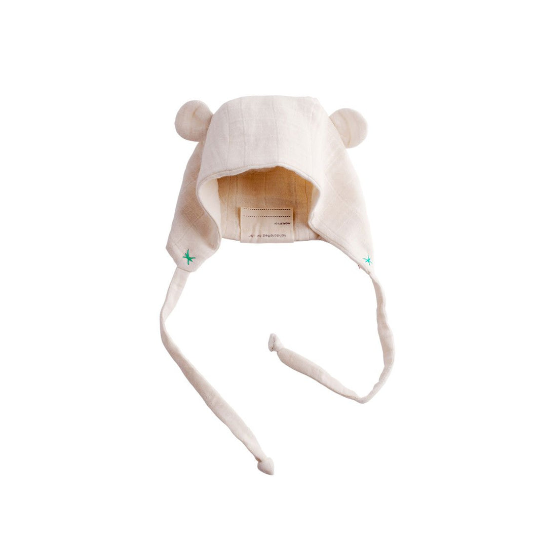 Ellie Fun Day Organic Double Weave Cotton Muslin Bear Bonnet