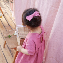 Load image into Gallery viewer, Nellie Quats Hopscotch Dress - Linen Raspberry 18-24M,3-4Y,5-6Y