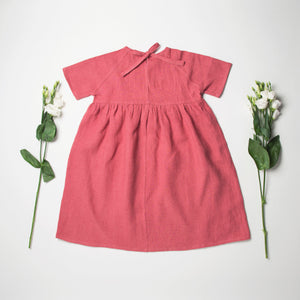 Nellie Quats Hopscotch Dress - Linen Raspberry
