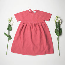 Load image into Gallery viewer, Nellie Quats Hopscotch Dress - Linen Raspberry
