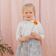 Load image into Gallery viewer, Nellie Quats Duck, Duck, Goose Blouse - Linen White Check 5-6Y Last One