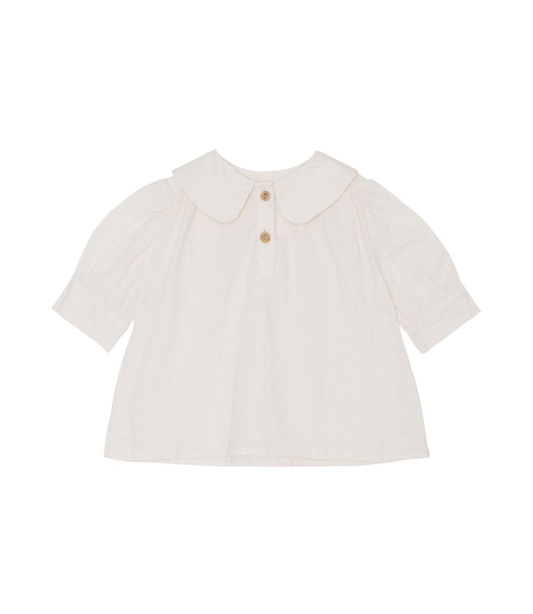 Yellow Pelota Collar Blouse - Natural 3Y, 4Y