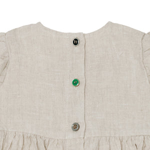 Yellow Pelota Baby Dress - Natural Linen 18M, 2Y