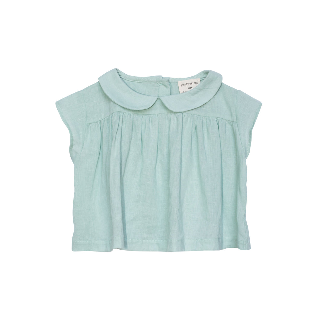 Yellow Pelota Yoke Blouse - Green Last One 3Y