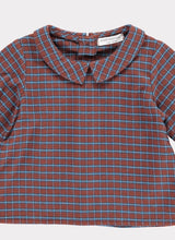 Load image into Gallery viewer, Happyology Shelby Baby Top - Burgundy Check 6-12M, 12-18M, 18-24M
