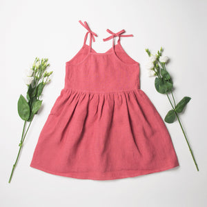 Nellie Quats Kiss-Chase Dress - Linen Raspberry 3-4Y,5-6Y