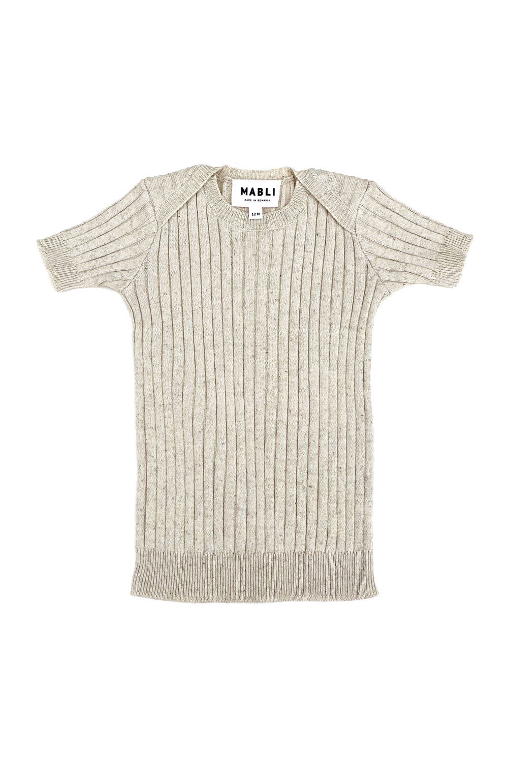 Mabli Caswell Knitted Cotton/Linen Short Sleeve Top - Sand - 12M,4Y