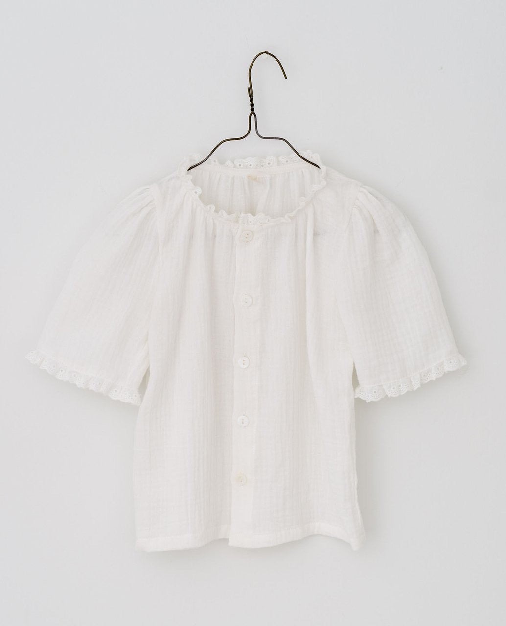Little Cotton Clothes Winnie Blouse - Off White Muslin -2/3Y, 3/4Y, 4/5Y