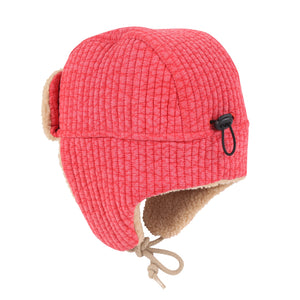 Jelly Mallow Shearling Earflap Cap - Red