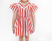 Load image into Gallery viewer, Hugo Loves Tiki Petal Sleeve Dress - Red/White Stripe 12-18M, 18-24M
