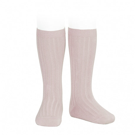 Condor Wide Ribbed Cotton Knee-high Socks - Old Rose (544)
