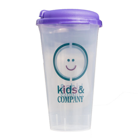 Clear plastic cup with purple lid and daycare logo