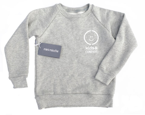 Grey fleece kids crewneck sweater ethically made