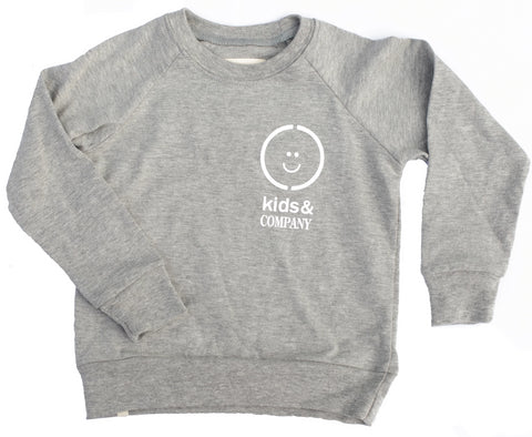 Grey jersey kids crewneck sweater ethically made