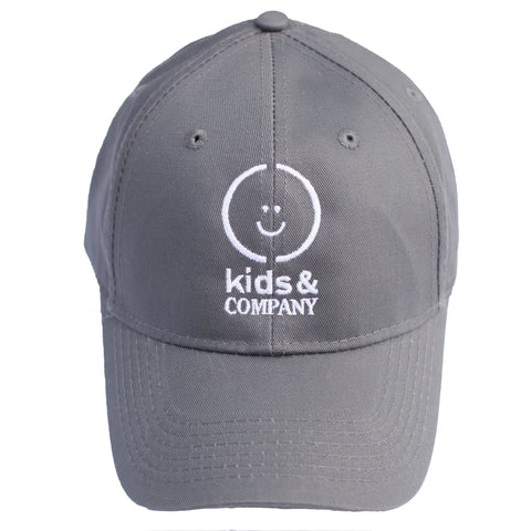 Grey baseball hat with white embroidered logo for kids
