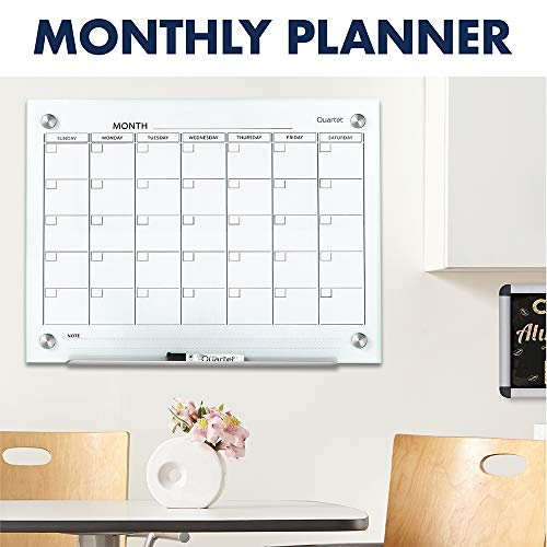 Quartet Magnetic Whiteboard Calendar Glass Dry Erase White Board