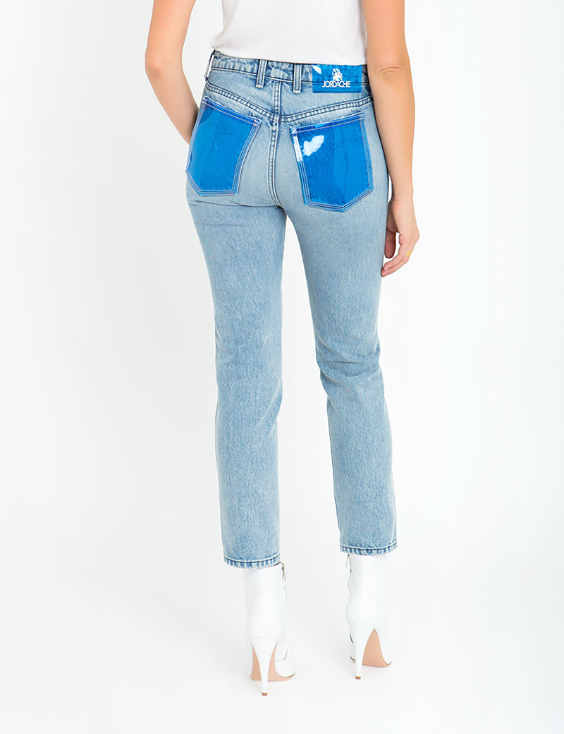Mid Blue PVC Pocket Vintage Straight