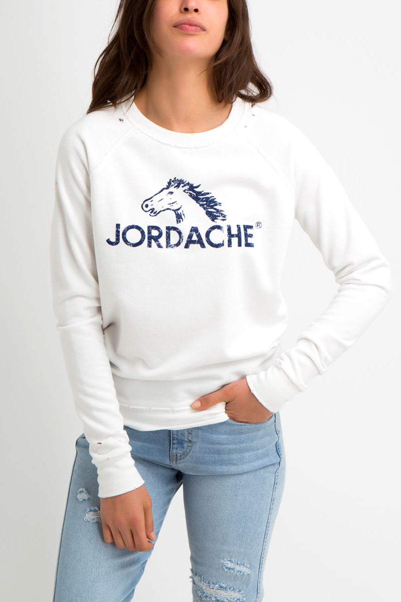 Madison Distressed Logo Graphic Sweatshirt