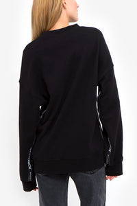 Black Logo Side Tape Oversized Sweatshirt