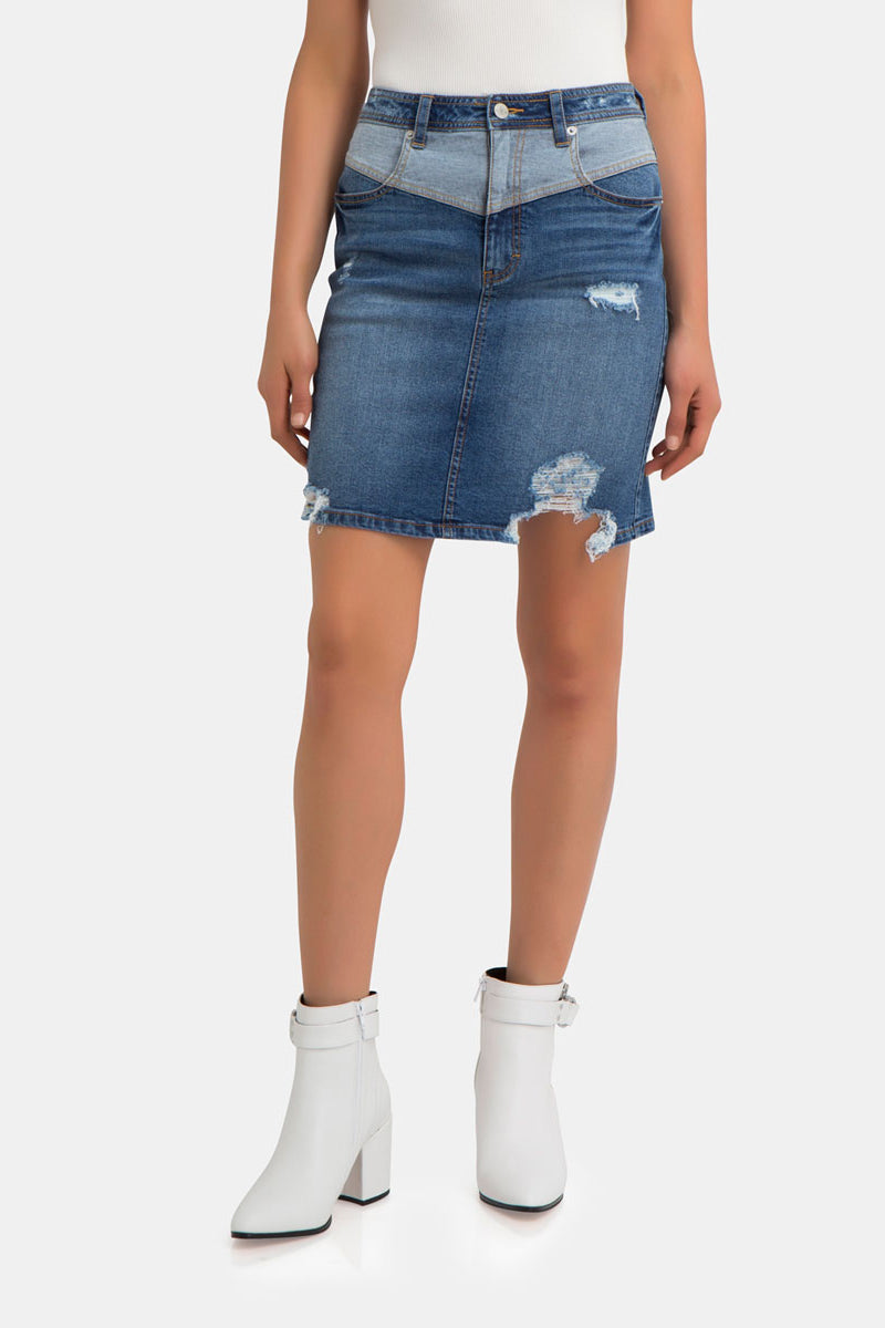 Sloane V-Front Ripped Denim Skirt