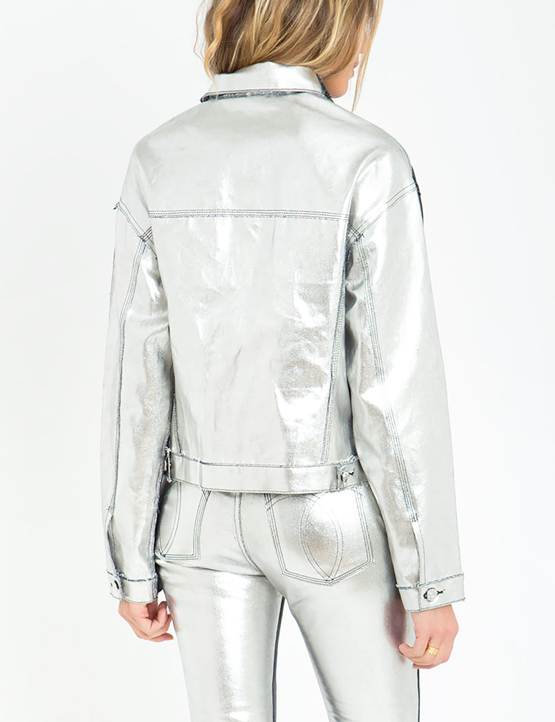 Two-Tone Contrast Bonded Metallic Cropped Jacket