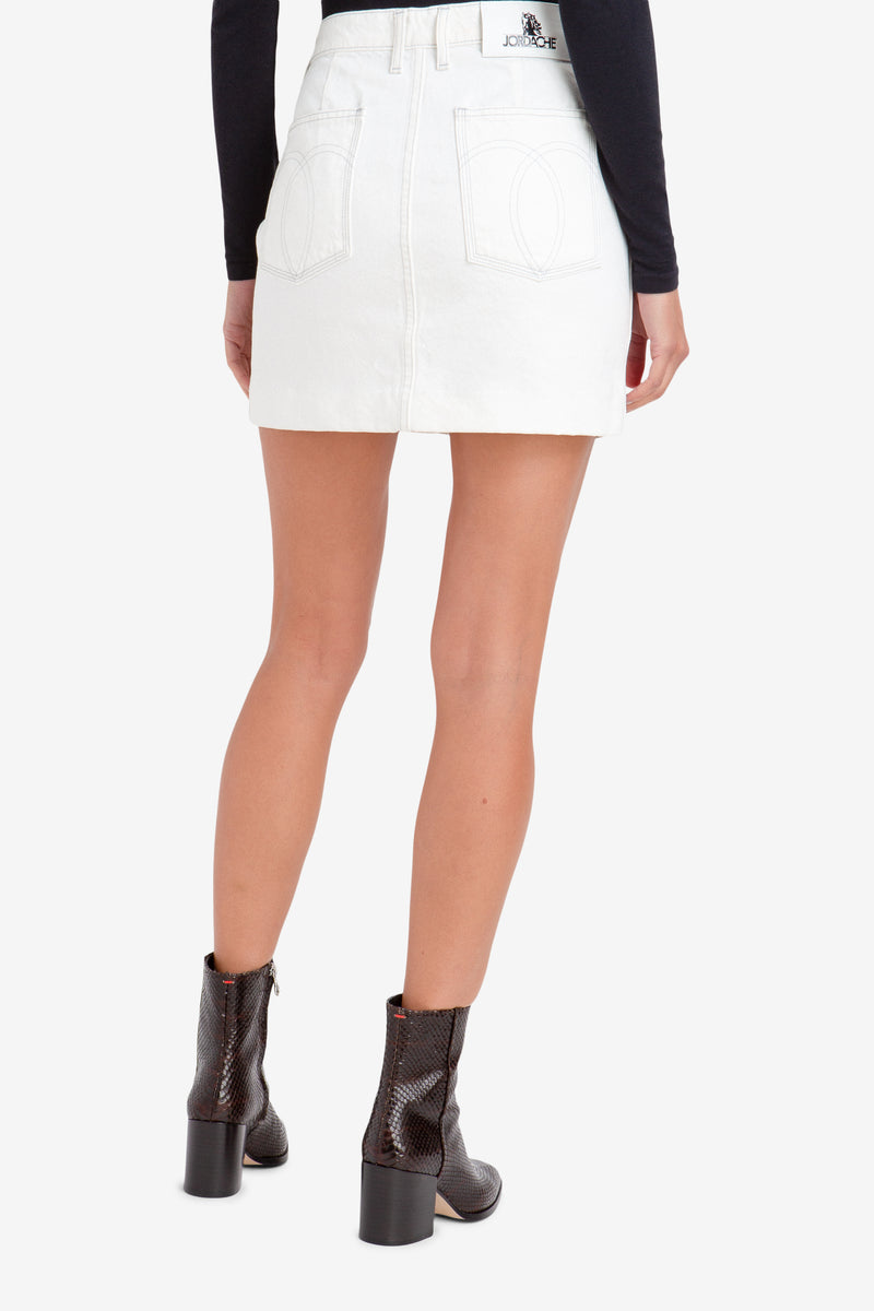 STONED WHITE MINI SKIRT