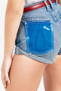 VINTAGE BLUE ROLLED SHORT