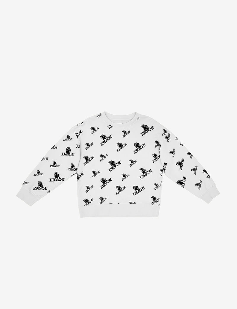 DIRTY WHITE LOGO PRINT OVERSIZED SWEATSHIRT
