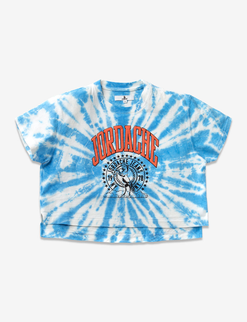 BLUE LAGOON TIE-DYE CROPPED T-SHIRT