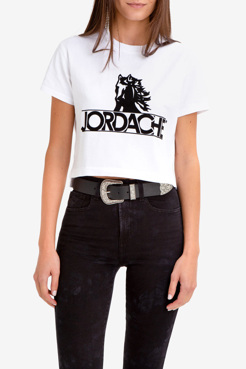 FLOCKED LOGO CROPPED T-SHIRT
