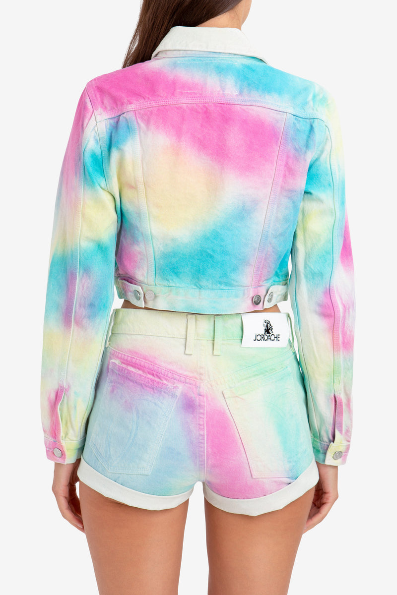 DIAGONAL RAINBOW CROPPED JACKET