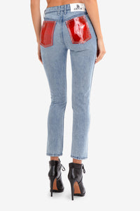 RED PVC POCKET HIGH RISE VINTAGE CROP