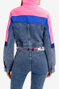 LIGHT ACID WASH DENIM SKI JACKET