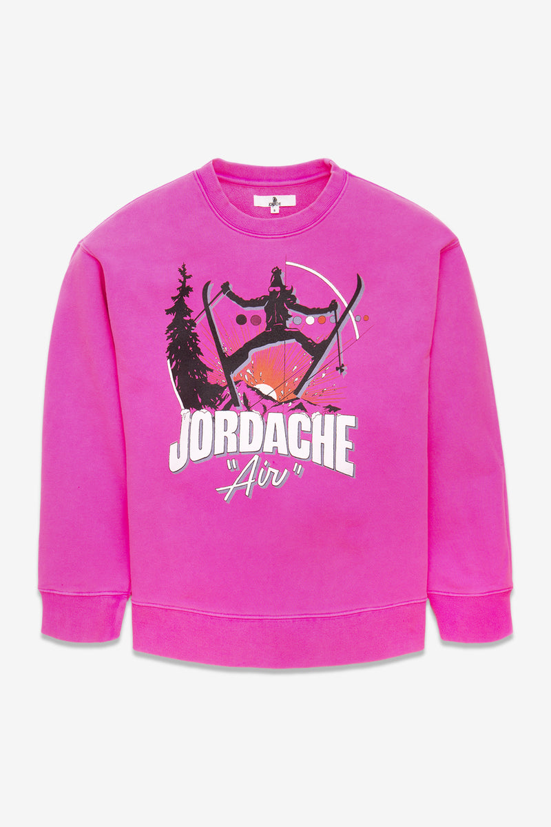 PINK JORDACHE SKI GRAPHIC OVERSIZED SWEATSHIRT