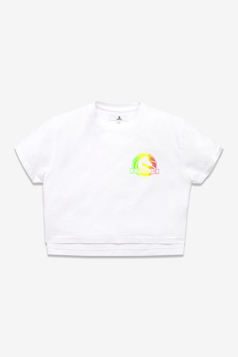 MULTI COLOR LOGO CROPPED T-SHIRT