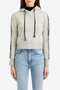 Heather Gray Grossgrain Tape Hooded Sweatshirt