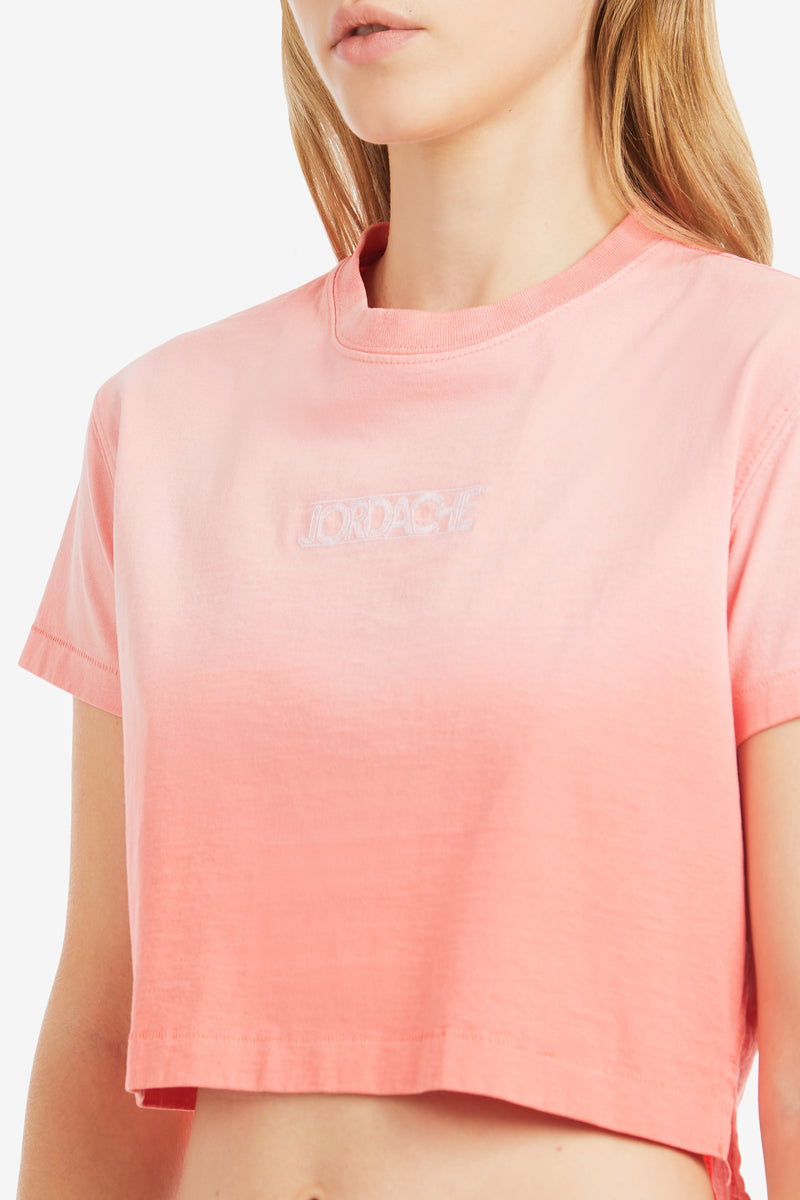 ORANGE SUNFADE LOGO CROPPED T-SHIRT