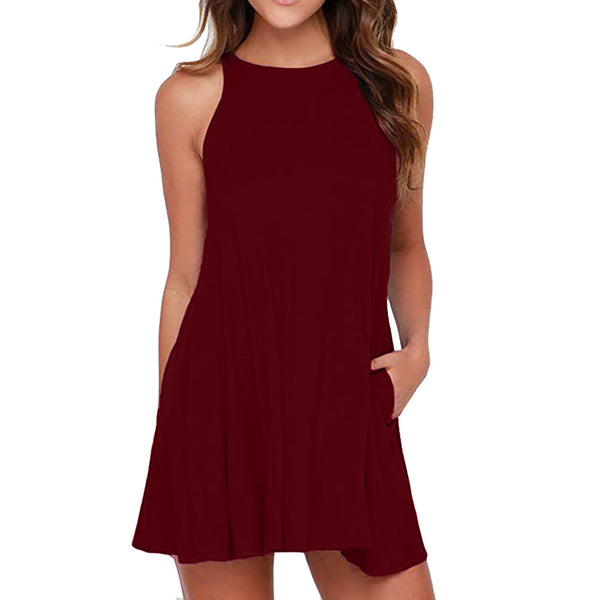 Feitong Plus size Women dresses summer Solid O-Neck Dress Swing Simple  Sleeveless Loose Casual f4196a9dceb4
