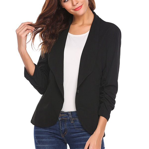 d3570e7bdc8c3 feitong 2018 winer Autumn OL Black Women Blazers New Fashion Single Button  Blazer Femenino Ladies Blazer