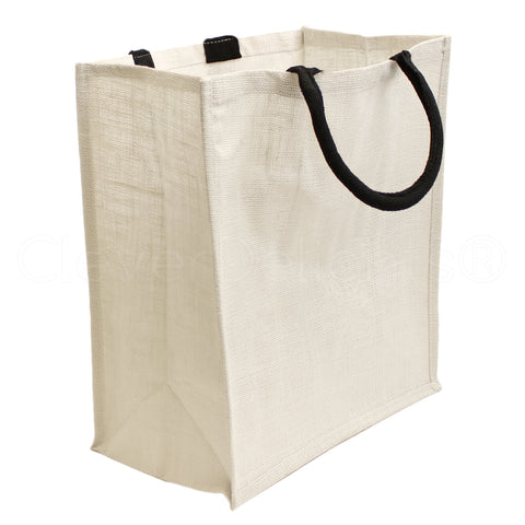"White Burlap Shopping Bags - 16"" x 14"" x 8"""