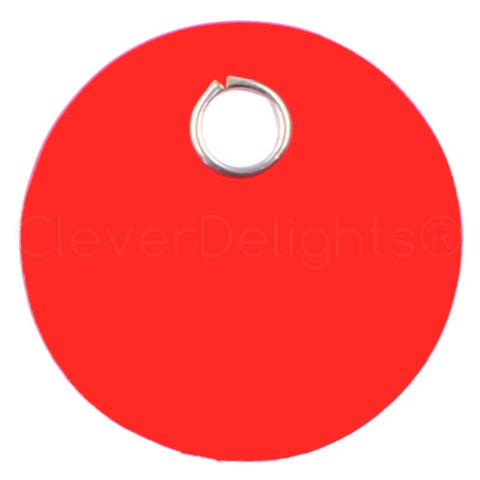 "Red Plastic Tags - 1"" Round"