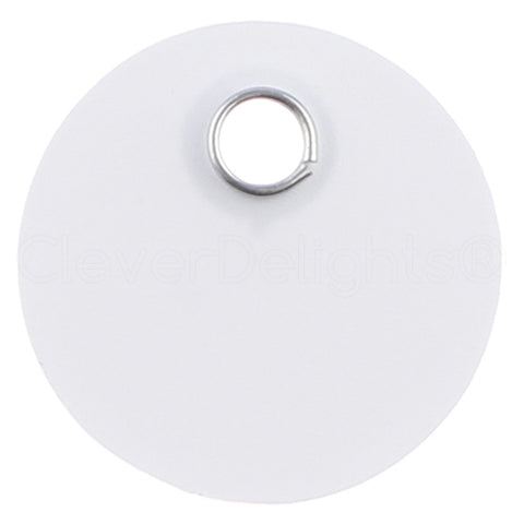 "White Plastic Tags - 1"" Round"
