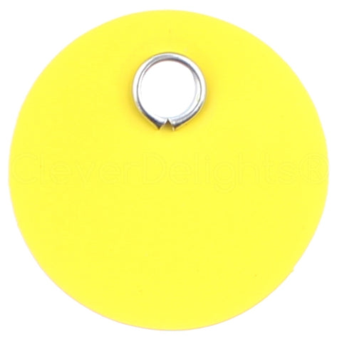 "Yellow Plastic Tags - 1"" Round"