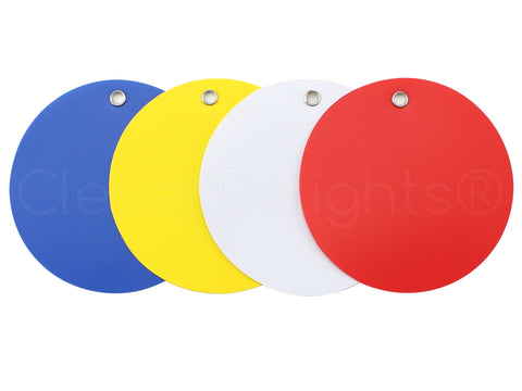 "Plastic Tags - 3"" Round - Mixed Colors"