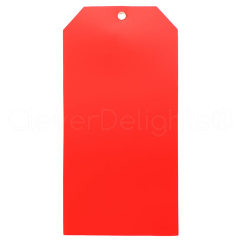 "Red Plastic Tags - 6.25"" x 3.125"""