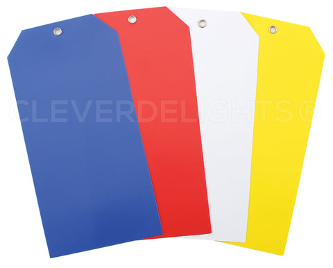 "Plastic Tags - 6.25"" x 3.125"" - Mixed Colors"