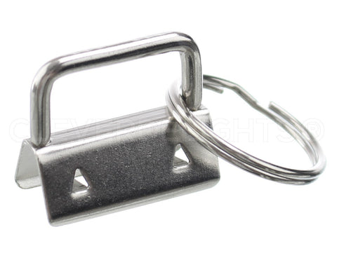 "1"" Key Fob Hardware Sets With Key Rings - Silver Color"